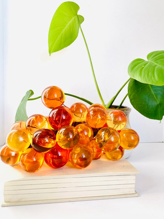 Vintage Mid-Century Orange Lucite and Driftwood Grape Cluster