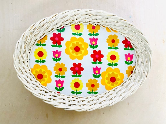 Vintage Ricolor Floral and Wicker Basket, Made in Germany
