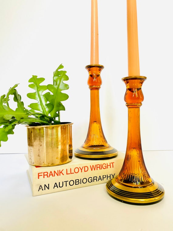 Pair of Vintage Amber, Black and Gold Diamond Glass Adam's Rib Candlestick Candle Holders