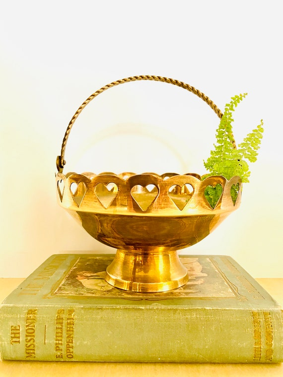 Vintage Mid-Century Heart Detailed Brass Bowl Basket with Handle