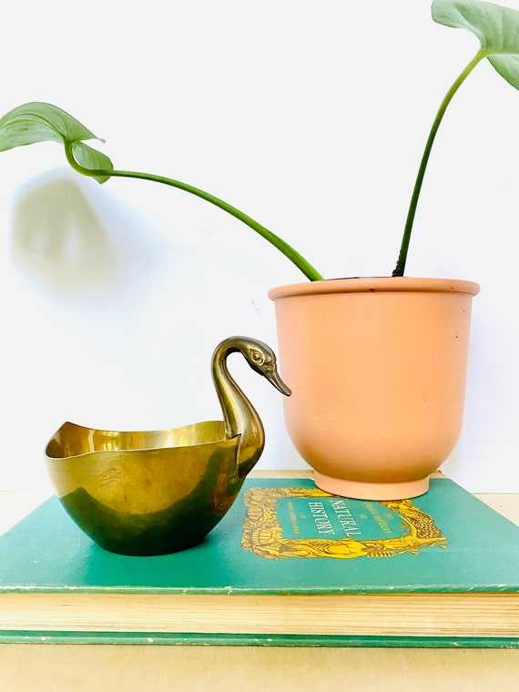 Vintage Mid-Century Solid Brass Swan Bowl or Planter