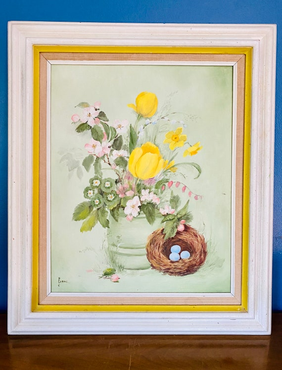 Vintage N Crone Signed Floral and Bird Nest Still Life Framed Oil Painting on Canvas Art Wall Decor