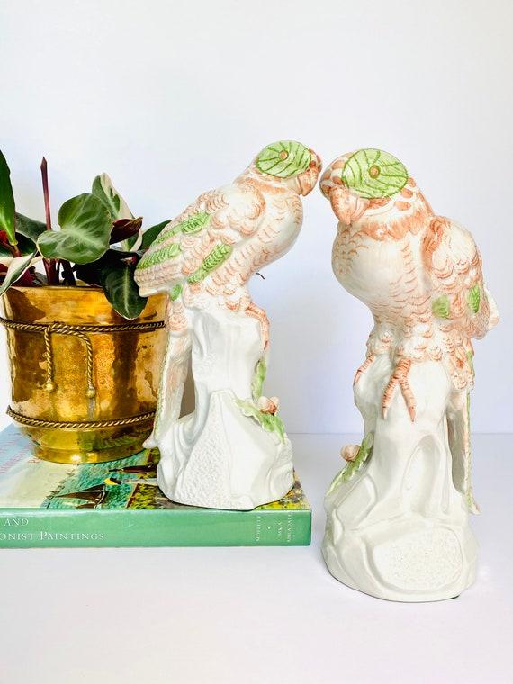 Pair of Vintage Italian Ceramic Peach and Green Parrot Figurines