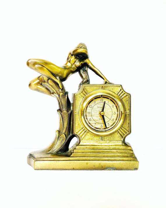 Vintage Frankart by Art Deco Budding Nymph Brass Colored Mantle Clock with Quartz Movement