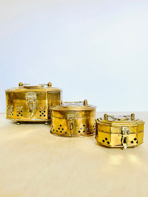 Vintage Mid-Century Brass Hinged Cricket/Jewelry/Trinket Boxes - MULTIPLE SIZES AVAILABLE