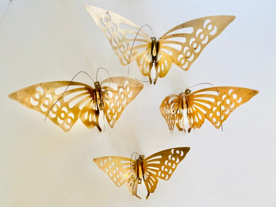 Set of Four Vintage Mid-Century Brass Butterfly Wall Hangings or Table Top Decor