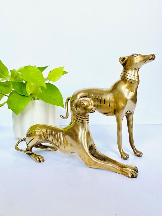 Pair of Vintage Mid-Century Art Deco Style Brass Greyhound Dogs