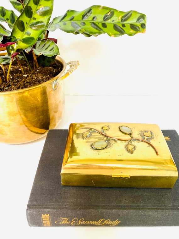 Antique Chinese Hinged Brass Box with Inlaid Gemstones
