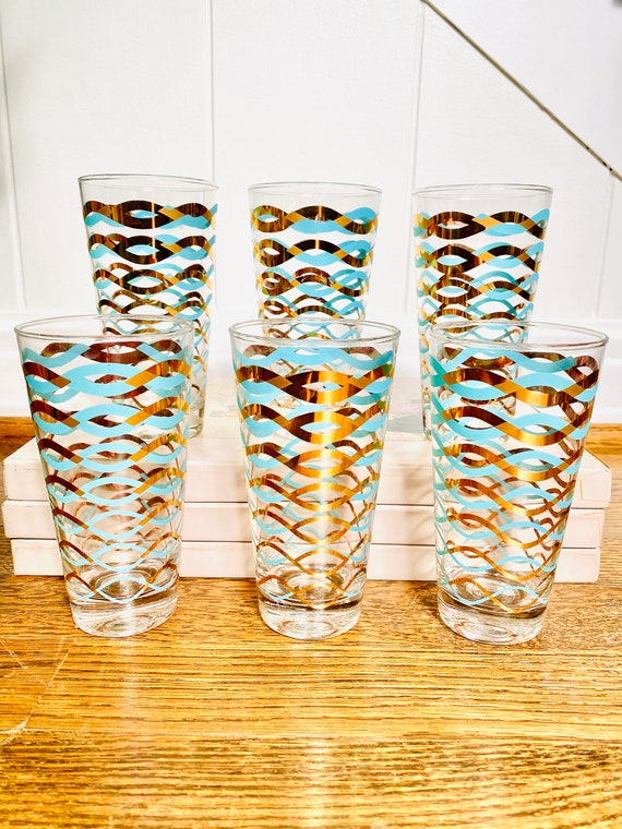 Set of 6 Vintage Turquoise and Gold Foil Metallic Wave Mid-century Collins Bar Glasses