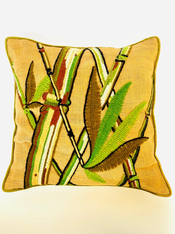 Vintage Jute / Burlap Bamboo Plants Crewel Yarn Art Throw Pillow