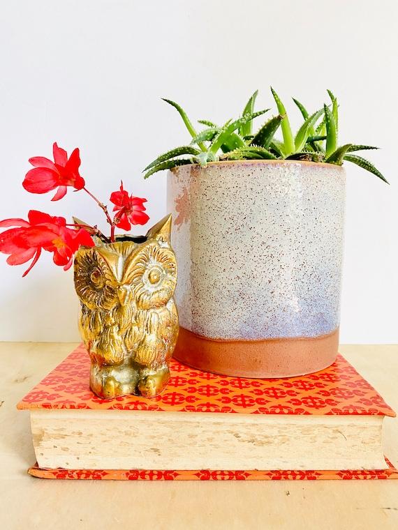 Vintage Mid-Century Brass Owl Vase