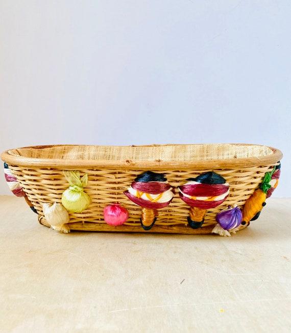 Vintage Wicker Breadbasket with Vegetables