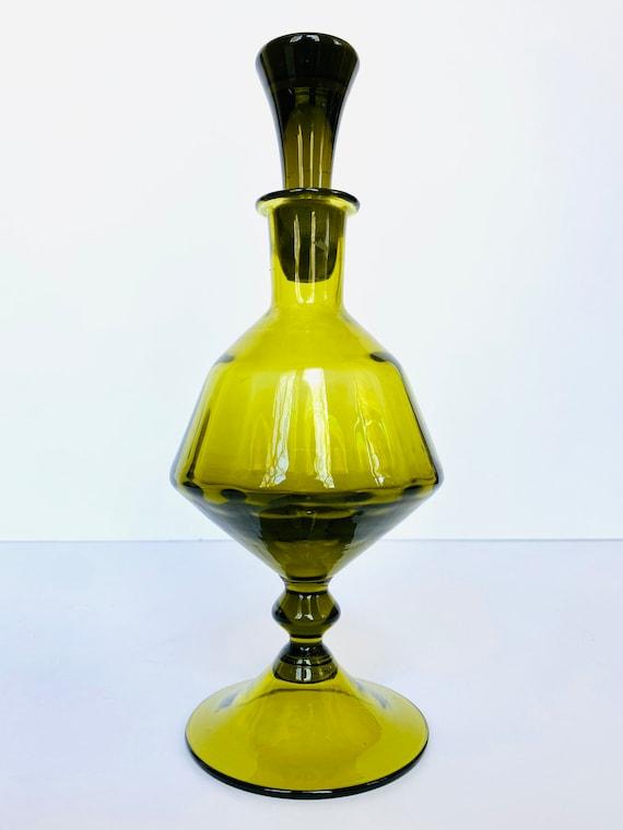 Vintage Mid-century Avocado Green Glass Lidded Decanter