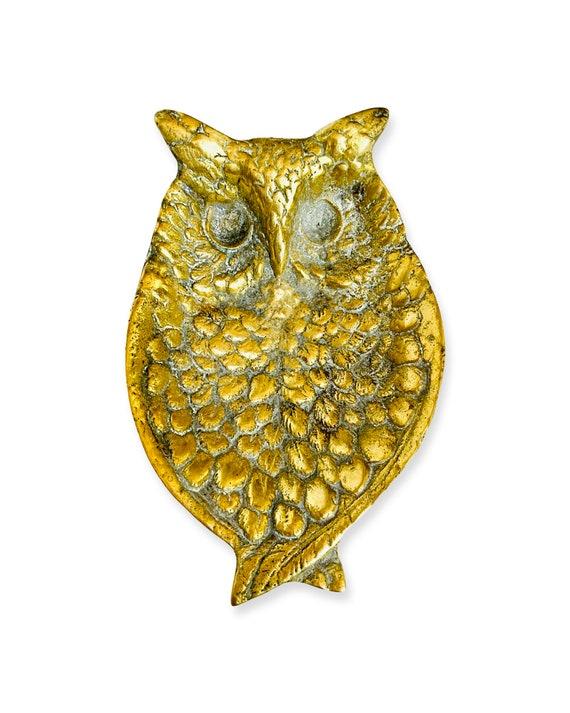 Vintage Solid Brass Owl Trinket Dish