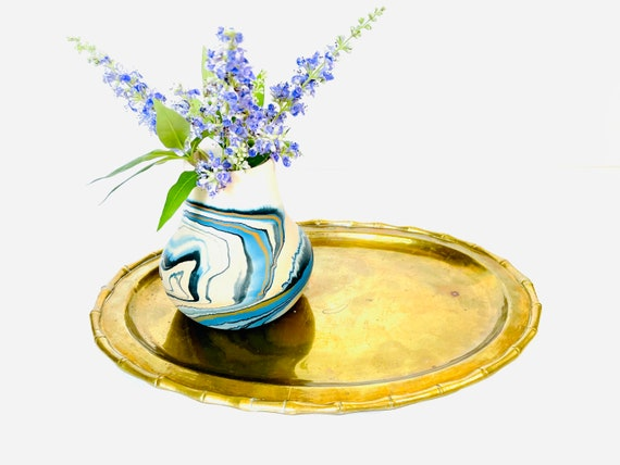 Vintage Decorative Brass Oval Tray with Bamboo Details
