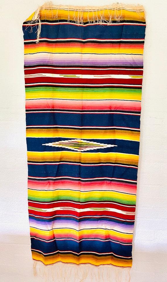 Vintage Mexican Saltillo Southwestern Serape Style Blanket