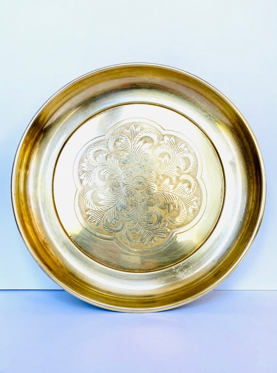 Vintage Decorative Round Etched Brass Tray Wall Hanging