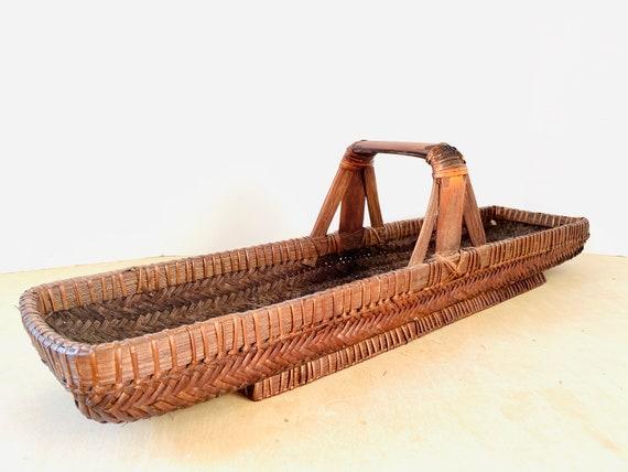 """Vintage 29"""" Long Wicker Basket Centerpiece"""