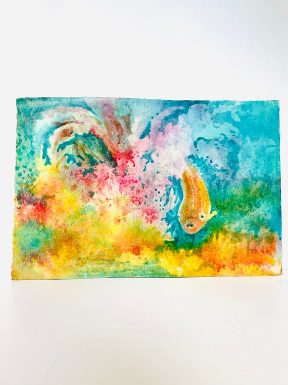 Vintage Original Watercolor Painting of Koi Fish / Goldfish in Abstract Technicolor Pond on Watercolor Paper