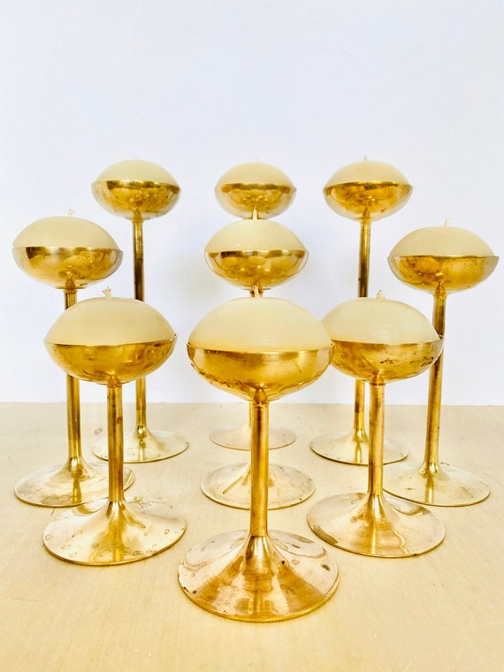 Set of 9 Sleek Mid-Century Modern Brass Tulip Style Circular Candle Holders