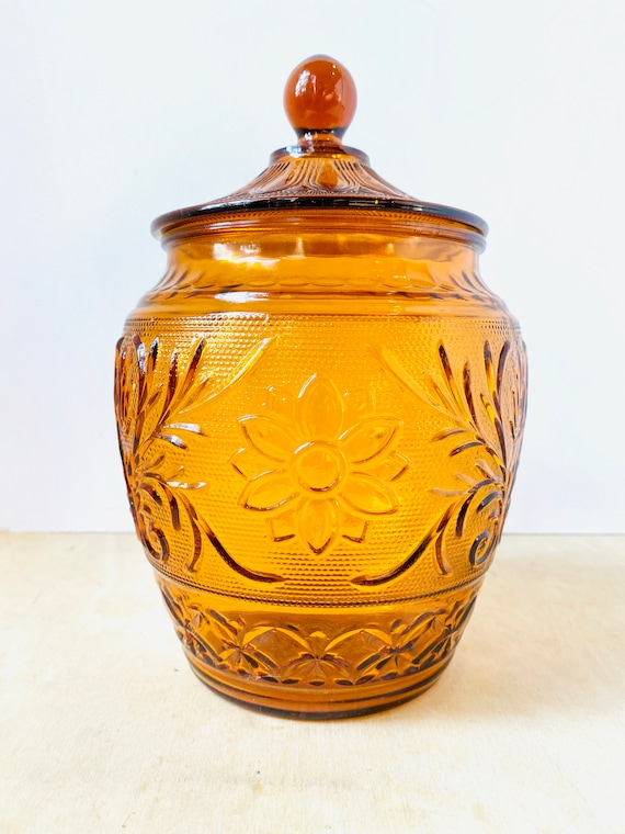Vintage Anchor Hocking  Cookie Jar & Lid Sandwich Desert Gold Amber