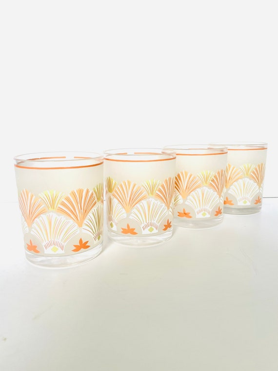 Vintage Set of 4 Stotter Peach Shell Patterned Plastic Cups