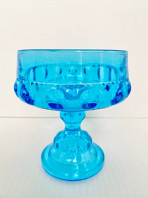 Vintage Indiana Glass King's Crown Turquiose Blue Glass Compote, Thumbprint Candy Dish Depression Glass