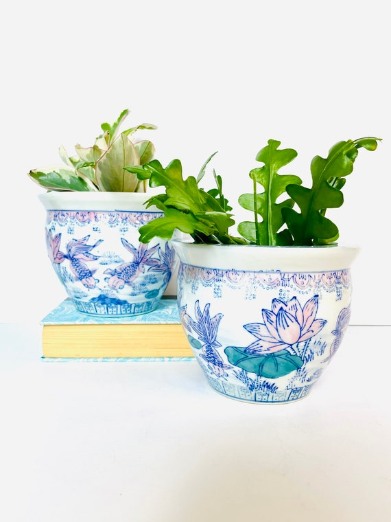 Vintage Chinese Asian Style Porcelain Planter Cachepot with Goldfish and Water Lily Motif