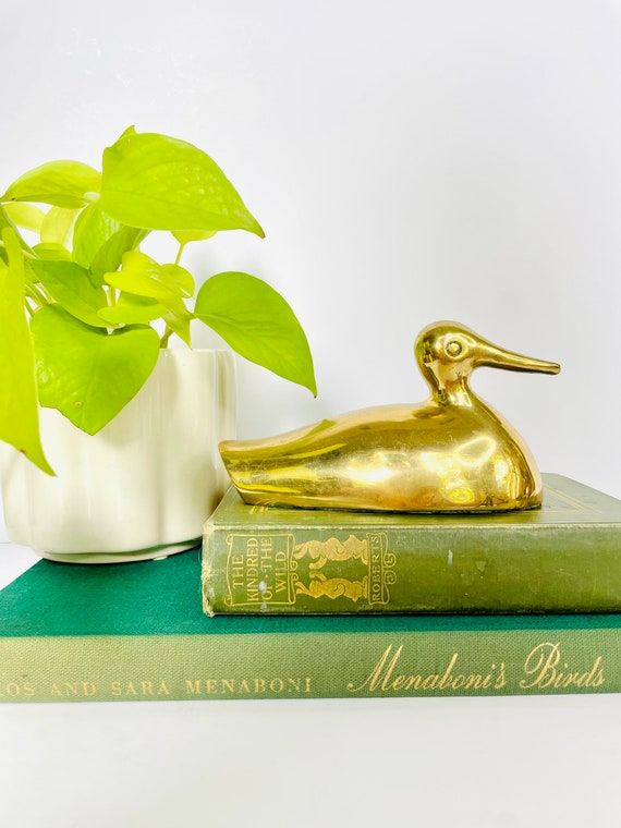 Vintage Mid-Century Brass Duck