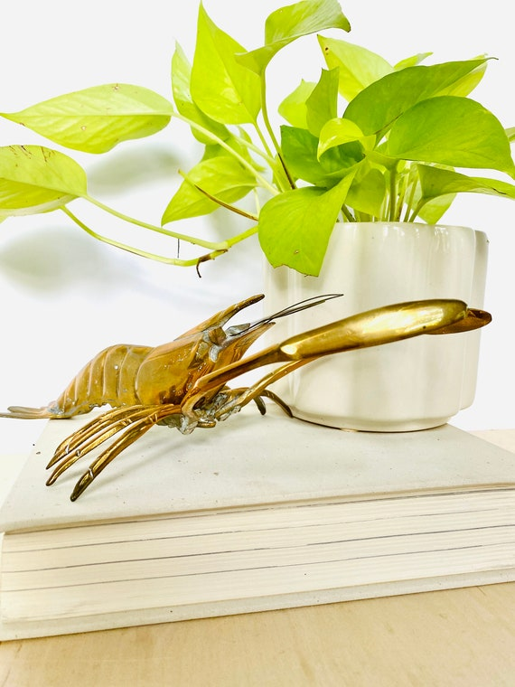 Vintage Mid-Century Brass Lobster Figurine or Wall Hanging