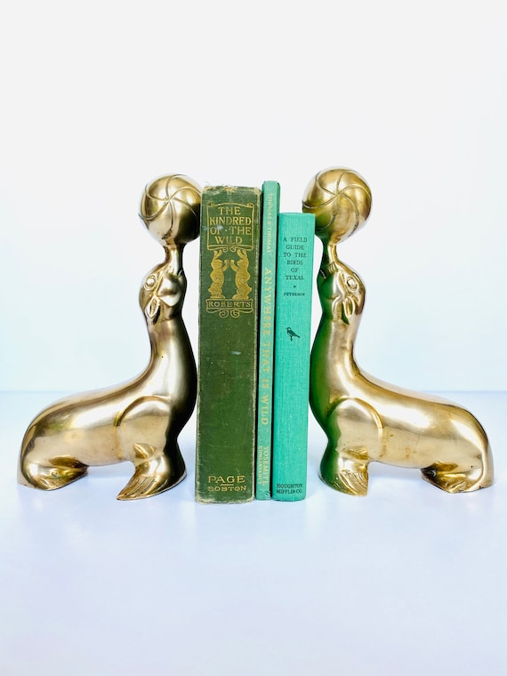 Pair of Vintage Mid-Century Brass Sea Lion Seals Bookends