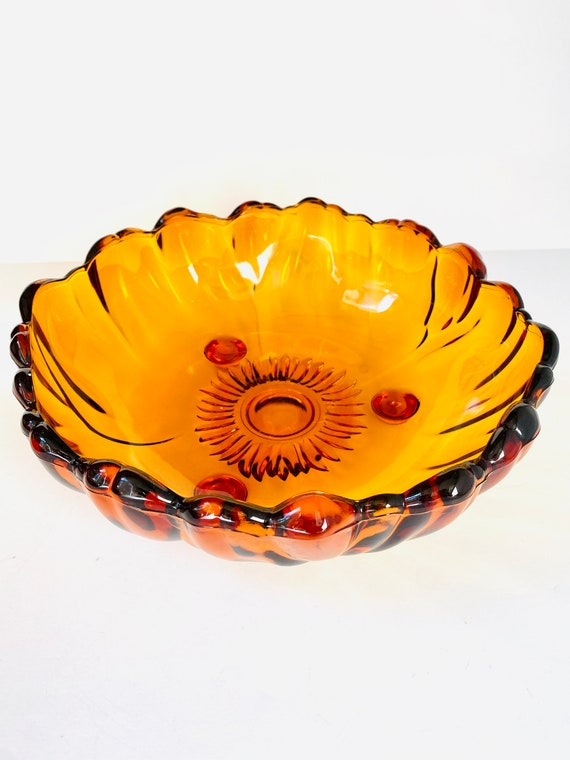 Vintage Mid-Century Colony Glass Co. Three Footed Amber Bowl in Petals Pattern | Serving/Fruit/Salad/Display Bowl