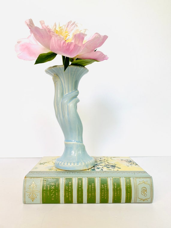 Vintage USA Blue Ceramic Fluted Hand Vase