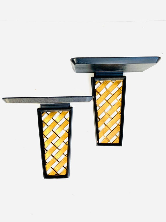 Pair of Vintage Syroco Wood Mid-Century Black and Gold Wall Shelf Sconce