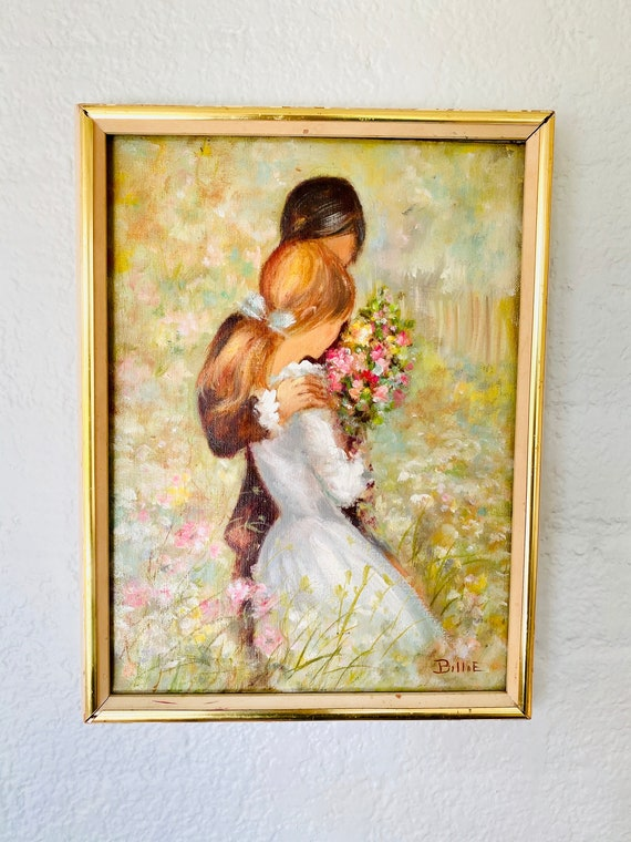 Vintage Original Painting of a Couple + Flowers Wall Art Decor