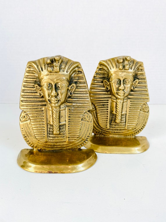 Pair of Vintage Mid-Century Solid Brass Egyptian Pharaoh Bookends