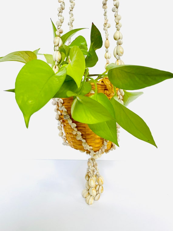 Vintage Bohemian Shell Plant Hanger with Basket