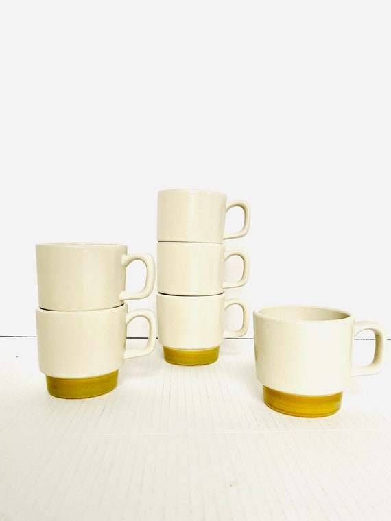 Set of 6 Vintage Stoneware Hand Decorated Mugs with Green Base