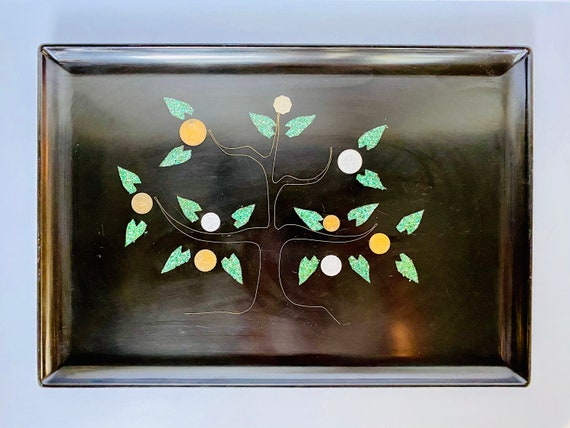 "Vintage Mid-Century Couroc of Monterey Coin Tree/Money Tree/Tree of Life 18"" Serving Tray"