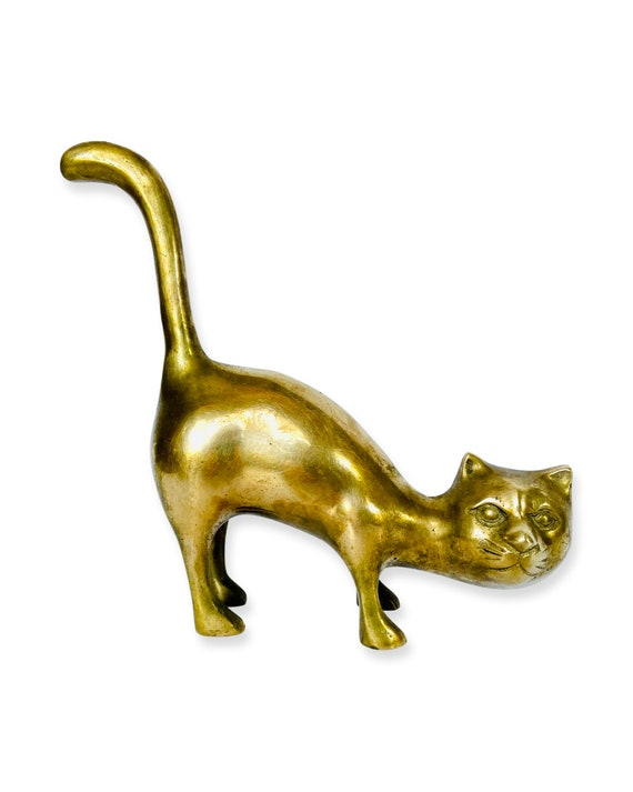 Vintage Arched Solid Brass Cat