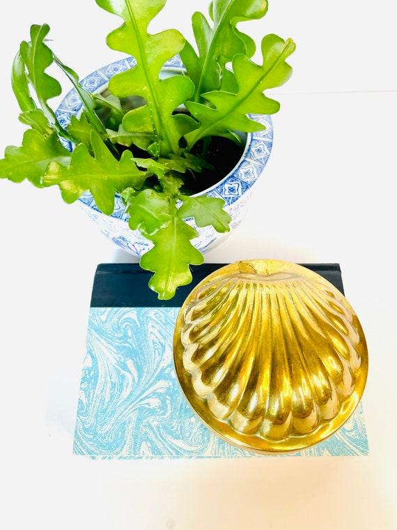Vintage Mid-Century Brass Shell Hinged Trinket Box