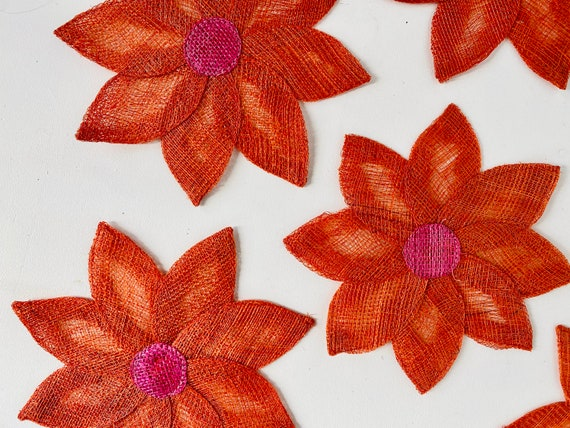 Set of 8 Vintage Mid-Century Woven Orange and Pink Woven Flower Coasters