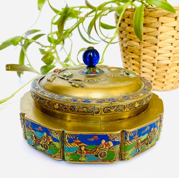 Antique Chinese Cloisonné Lidded Brass Box with Inlaid Gemstones