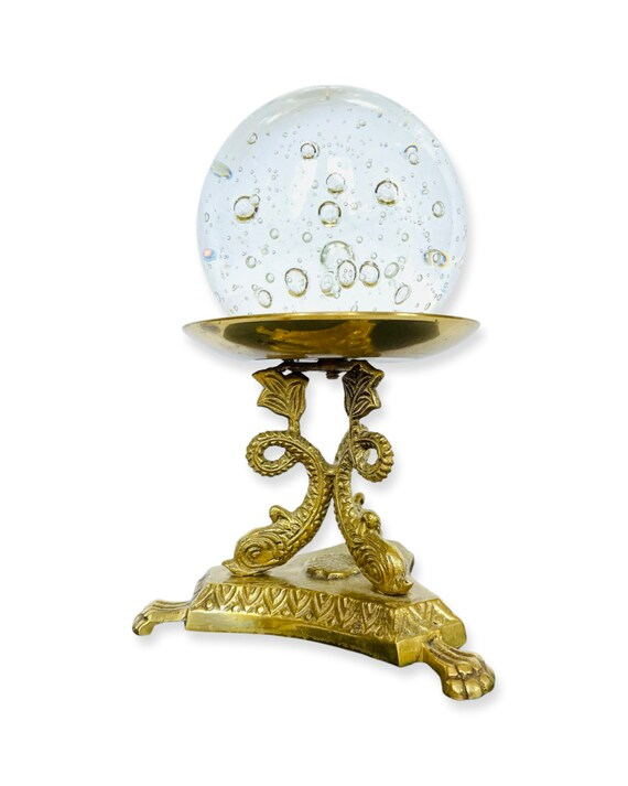 Vintage Crystal Ball with Brass Stylized Dolphin Stand