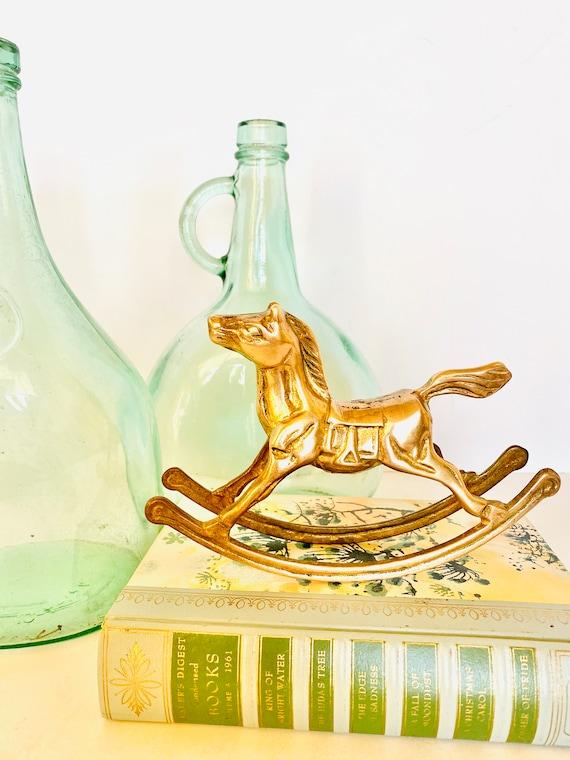 Vintage Mid-Century Brass Rocking Horse