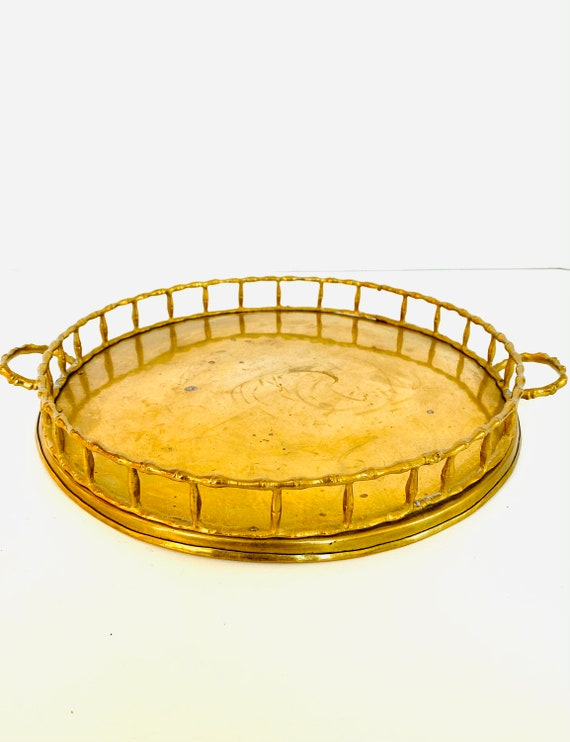 Vintage Decorative Round Brass Tray with Bamboo Details