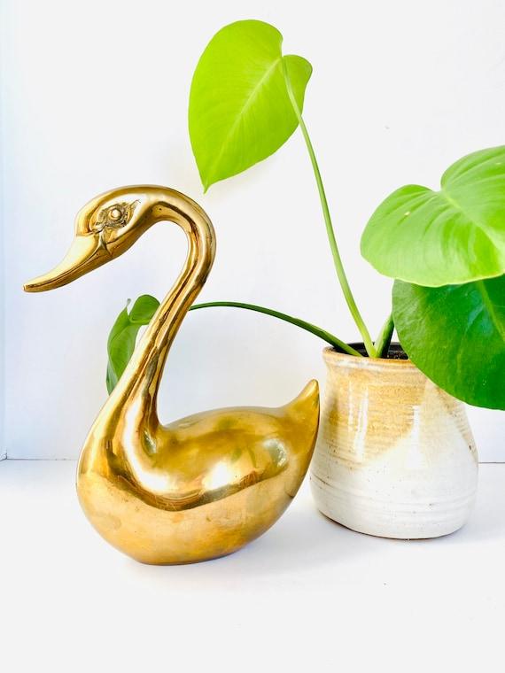 Large Vintage Mid-Century Brass Swan