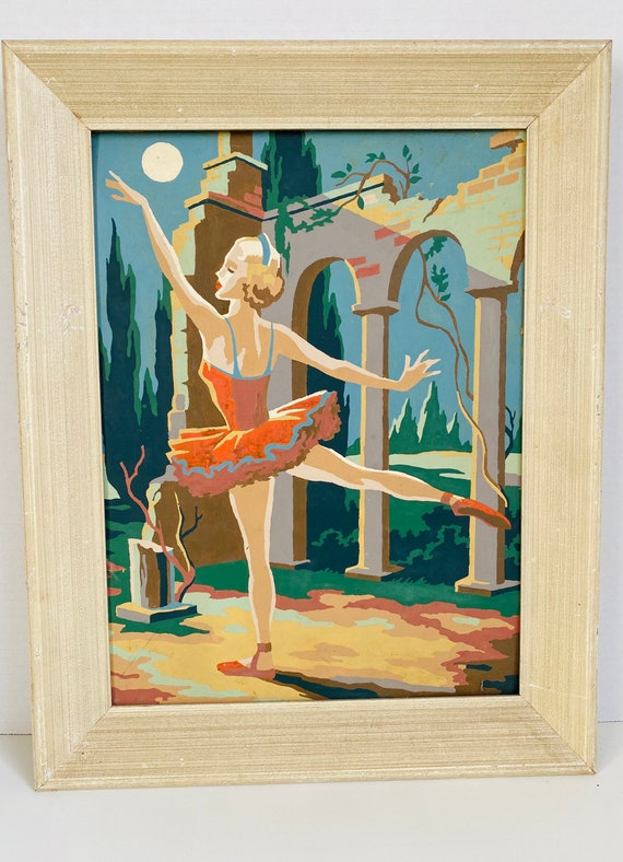 Vintage Paint by Number Ballerina Ballet Wall Art Decor