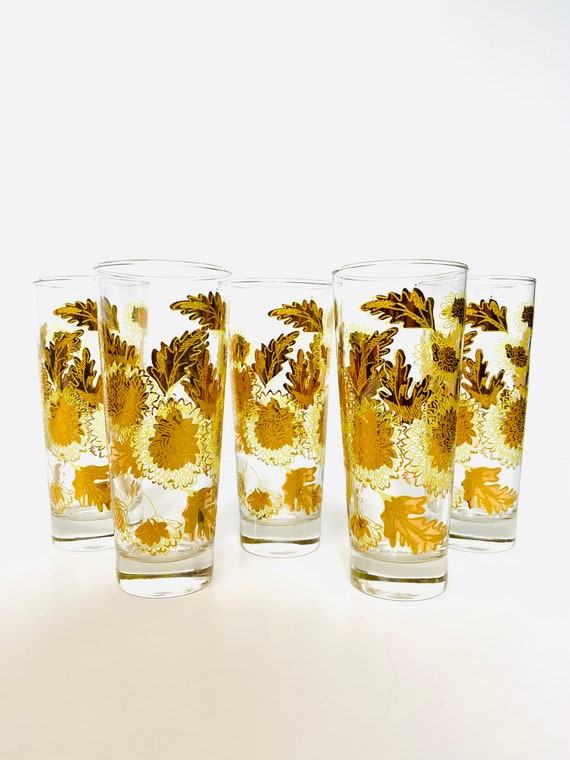 Set of 5 Vintage Mid-Century Pokee Yellow & 22K Gold Chrysanthemum Collins Bar Glasses