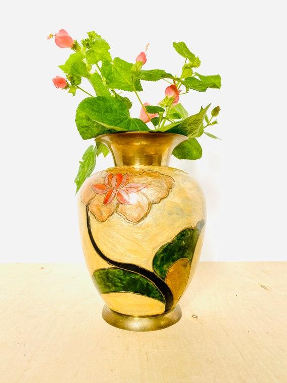 Vintage Brass and Enamel Floral Pattern Vase